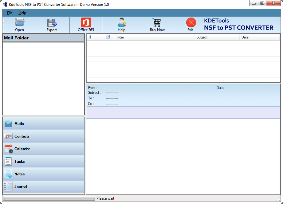 KDETools NSF to PST Converter full screenshot