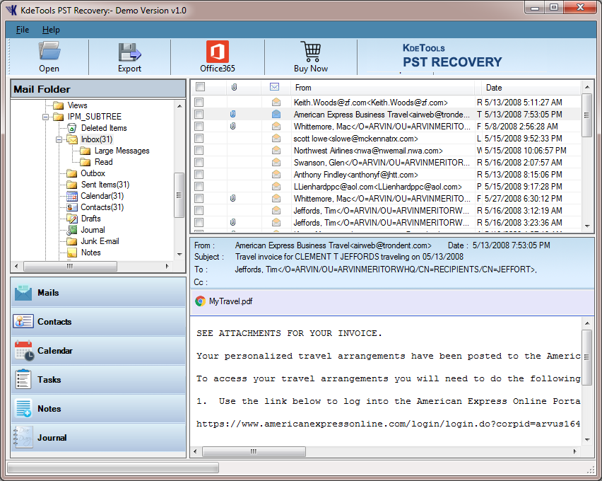 Windows 7 KDETools PST Recovery 1.0 full