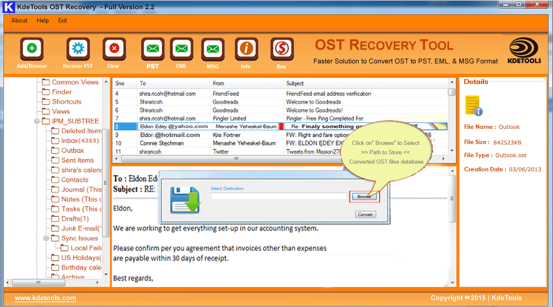 Click to view KDETOOLS OST TO PST CONVERTER screenshots