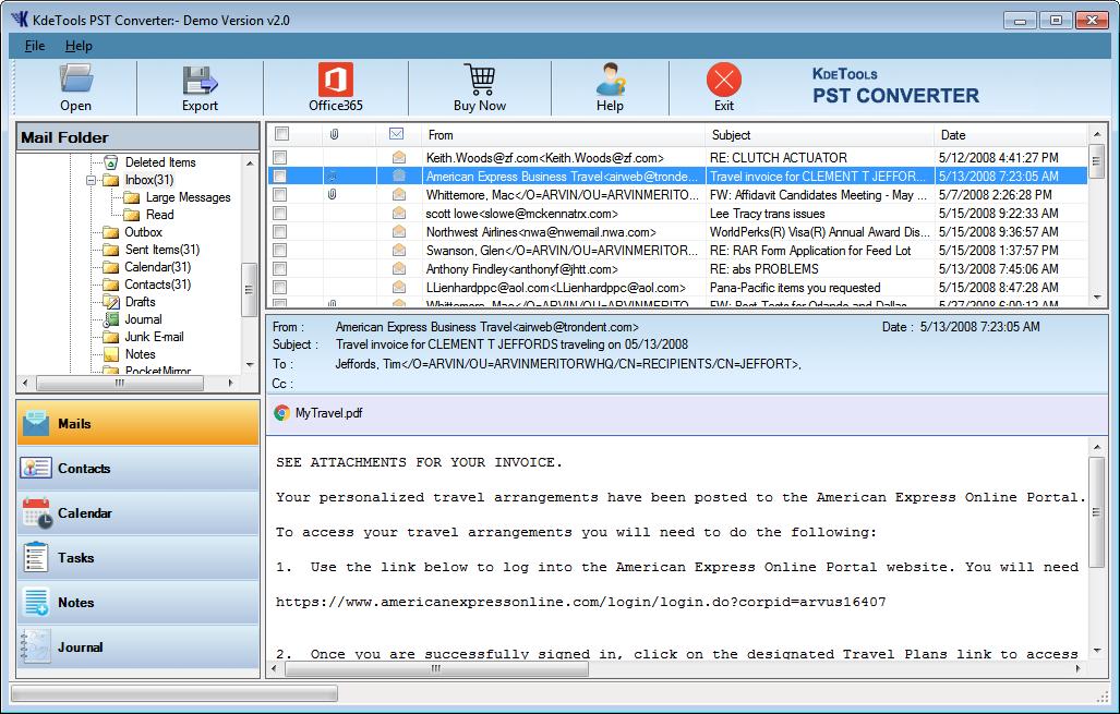 Kdetools PST Converter Software full screenshot