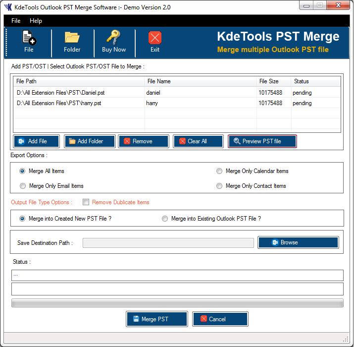 Windows 7 KDETools PST Merge 2.0 full